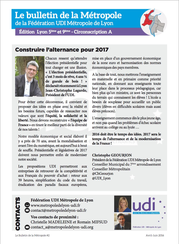 Bulletin de la Métropole - Fédération UDI métropole de lyon 2
