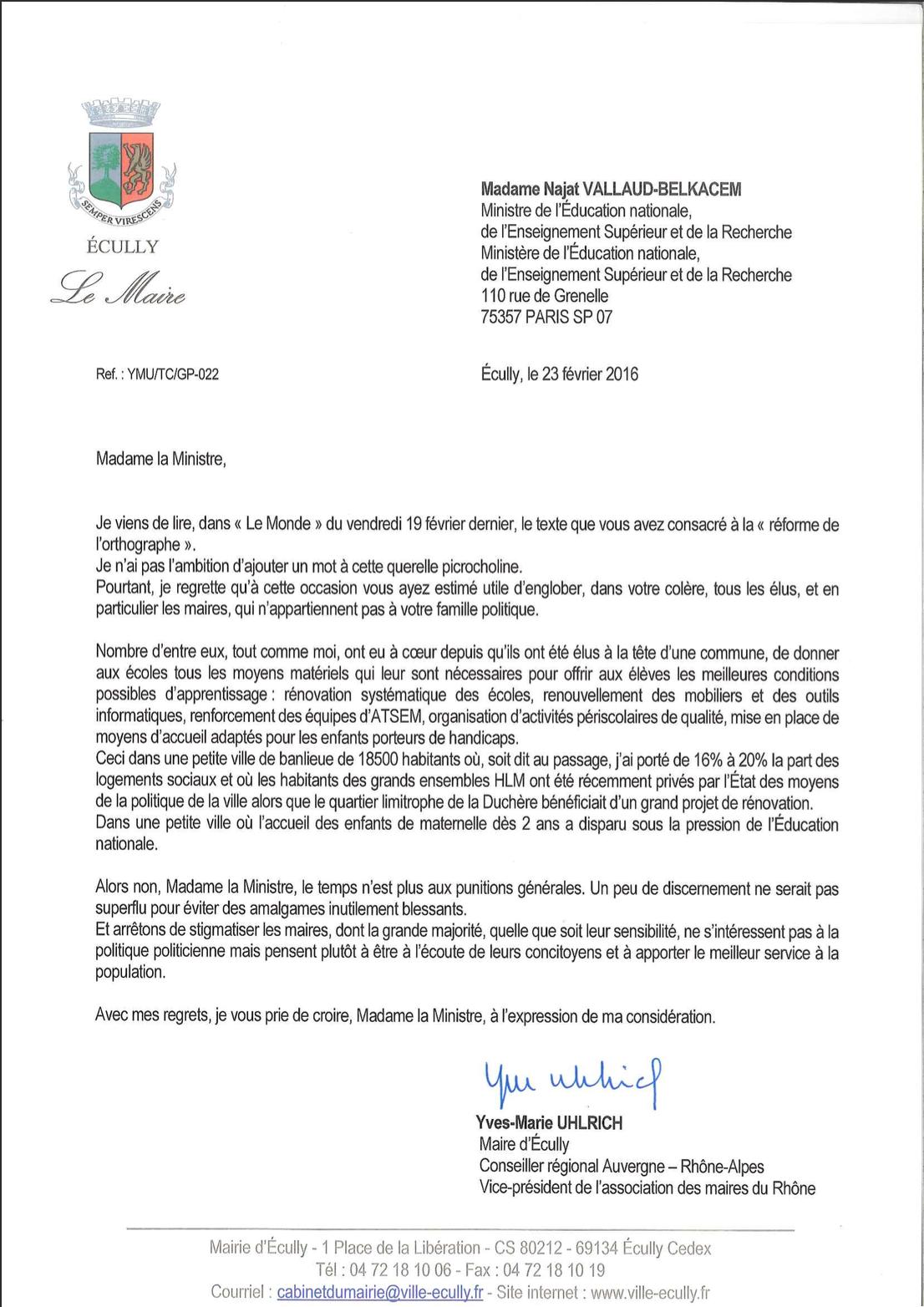 Lettre Yves Marie Ulhrich - UDI Ecully Lyon