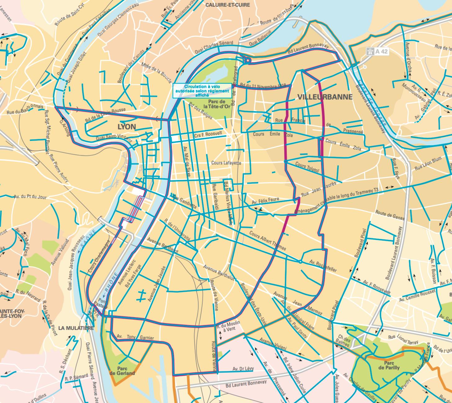 Réseau piste cyclable Lyon - Fédération UDI métropole de Lyon
