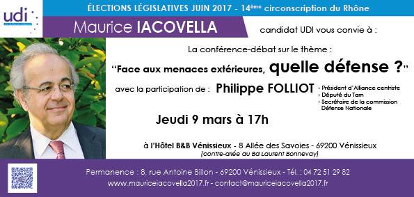 Conférence débat Face aux menaces extérieures Quel défense Philippe Folliot Maurice Iacovella