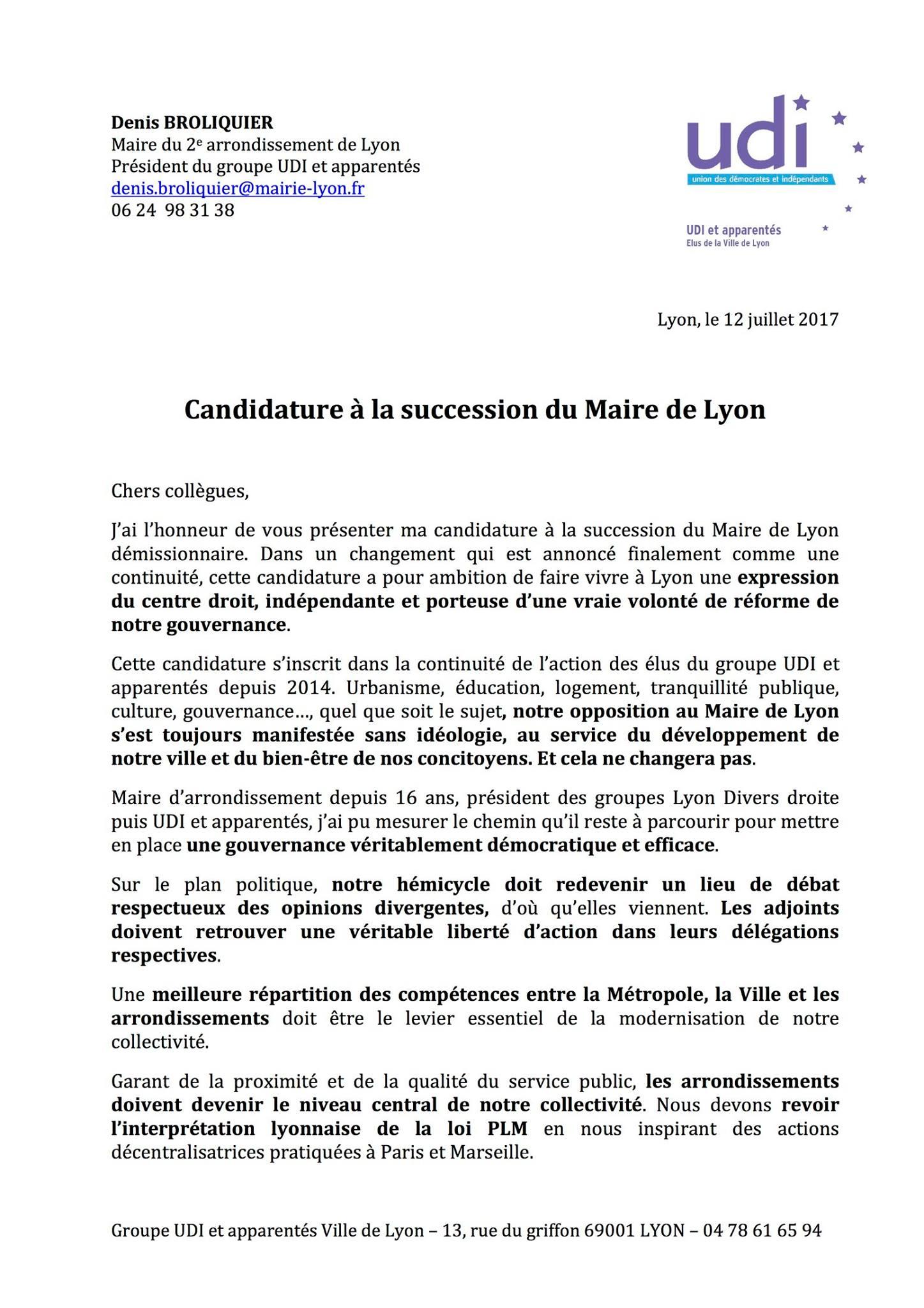 Candidature Denis broliquer - Mairie de Lyon - UDI métropole de Lyon 1